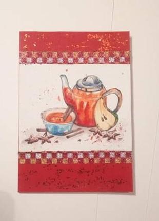 """Открытка ручной работы """"теплый чай"""""""