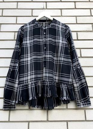 Рубашка,блуза в клеточку с баской,штапельная викоза,этно бохо ...