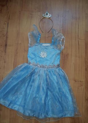 Карнавальный костюм платье принцессы эльза снежинка зима