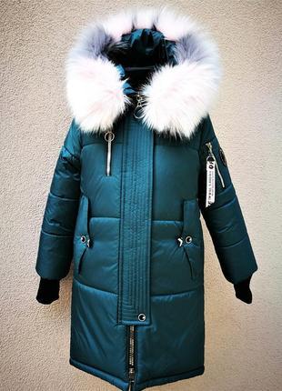 Зимнее длинное пальто для девочек.