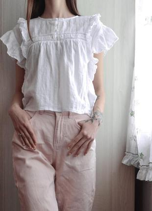 Белая блузка с рюшками рюшами оборками хлопок zara girls