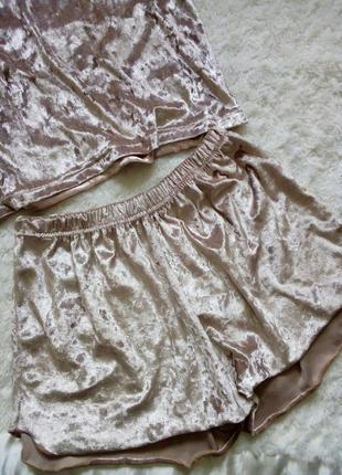 Бархатные велюровые мрамор шорты нюд