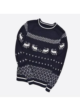 Celio m-l / мужской вязаный свитер в узор с оленями, с добавко...