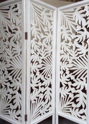 Ширма деревянная резная BST 530303 150 см. белая