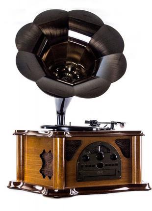 Проигрыватель винила граммофон ретро 43,3х65х45,7 см. дуб BST ...