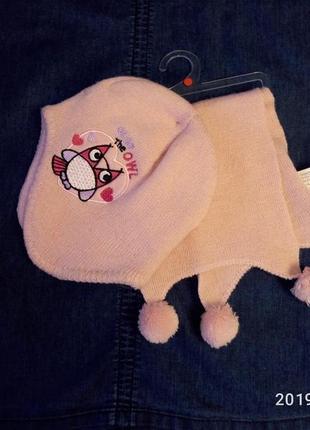 Детский комплект шапка и шарфик на девочку