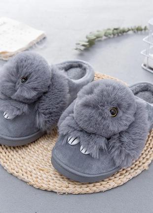 Тапочки домашние женские меховые кролики. теплые тапки зайчики...