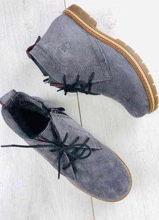 Зимние замшевые темносерые ботиночки
