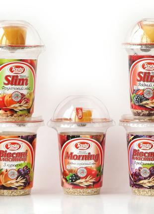 Каши быстрого приготовления с ягодами, медом и орехами, в ассорт.