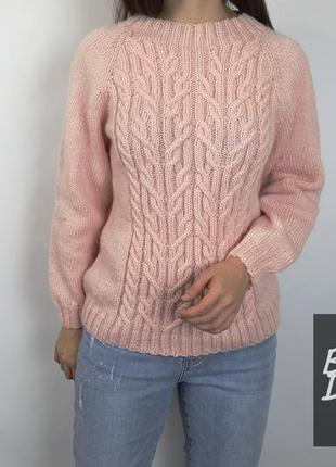 Пуловер свитер джемпер вязаный размер s-m розовый пудра