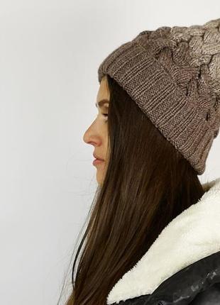 #розвантажуюсь вязаная теплая шапка с отворотом и с серым мехо...