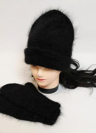 Набор вязаный шапка и варежки ангора кролик пушистая шапка бини