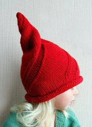 Детская шапка тыковка луковка шерсть мериноса 52-54см