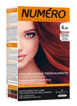 Стойкая краска для волос Brelil Numero с экстрактом овса 6.66 ...