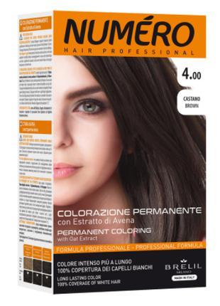 Стойкая краска для волос Brelil Numero с экстрактом овса 4.00 ...