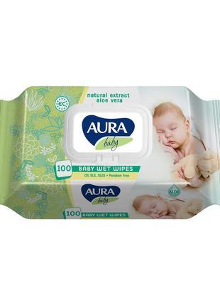 """Детские влажные салфетки 97% воды """"Aura Baby"""" с клапаном 100шт"""