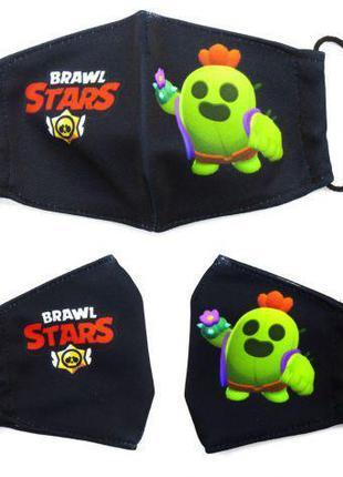 """Многоразовая 4-х слойная защитная маска """"BRAWL STARS Спайк"""" ра..."""