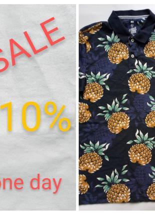 Скидка! футболка поло мужская с принтом рисунком ананасы синяя...