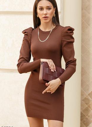Трикотажное платье-мини в шоколадном оттенке