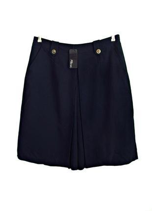 Скидка до 15.02! красивые темно-синие кюлоты, юбка-брюки с кар...