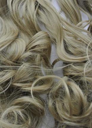 11-4 накладные волосы на заколках затылочная прядь трессы блон...