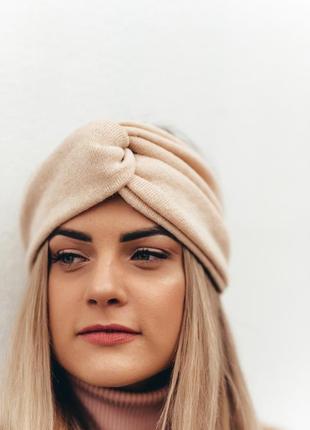 Теплая женская повязка на голову, чалма ангорка