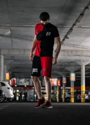 Летний комплект шорты+футболка Sad Smile красно-черный M