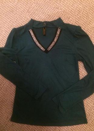 Шикарна блуза еко- замш  з декором-