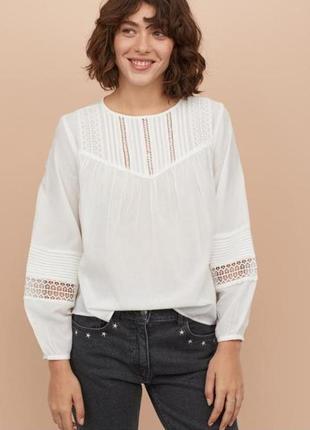 Белая блуза с широким рукавом 32,34,36,40