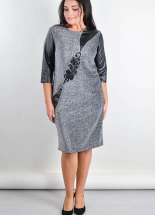 Размеры 50-64! нарядное платье саманта серебро, большой размер!