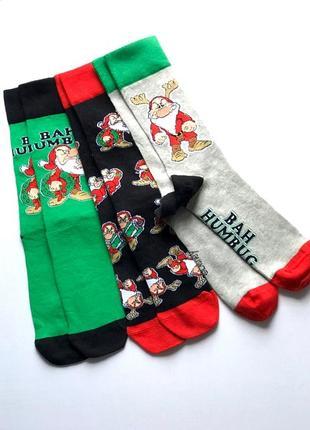 Комплект 3 пары, нарядные мужские коттоновые новогодние носки,...