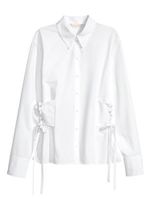 Трендовая белая рубашка корсет с завязками по бокам на талии h&m