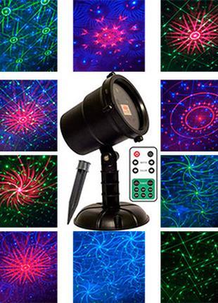 Лазерный проектор новогодний 3х цветный Star shower laser R28