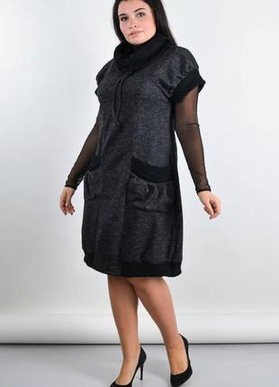Размеры 50-64! платье сарафан ангора сью графит, большой размер!