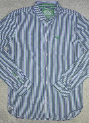 Отличная Superdry рубашка мужская М48 полоска длинный рукав india