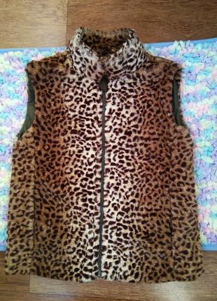 Мягусенькая жилетка nutmeg для юной модницы леопардовый жилет ...