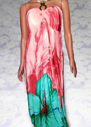 Нежно розовое платье-бюстье в пол, с завязкой-бусами на шее