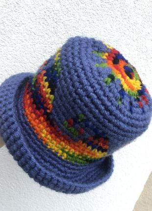 Винтаж,шерстяная вязаная шляпа ,шапка,ручной работы