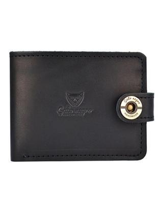 Мужской кожаный кошелек ручной работы gato negro черный