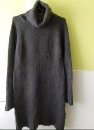 Тёплый вязаный свитер платье с высокой горловиной zara