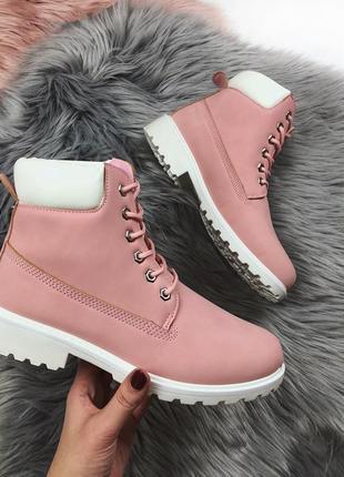 Новые женские осенние розовые ботинки