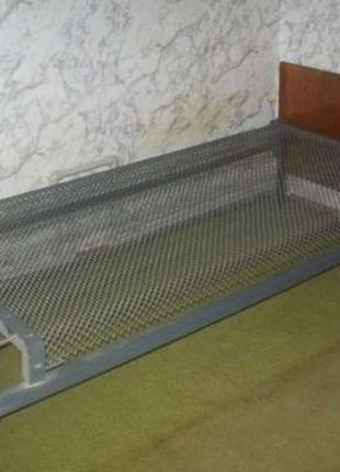 Кровать с пансерной металлической сеткой Одинарная Ліжко з сіткою