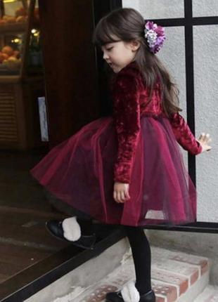 Платье фатин юбка велюровое рюш волан шикарное