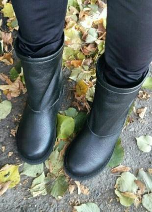 Натуральные кожаные угги черные