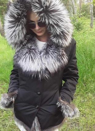 Куртка с шикарным мехом чернобурки