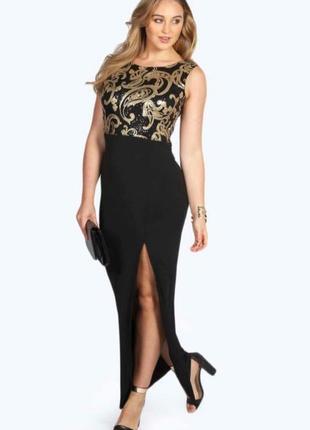 Вечернее длинное  макси платье с расшитым верхом и разрезом