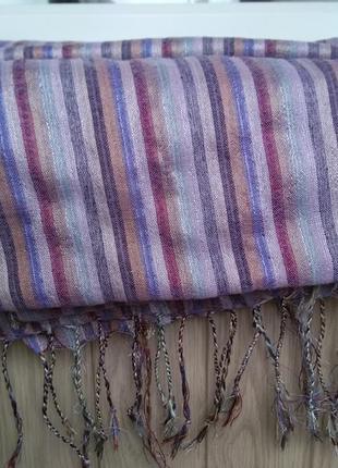 Шикарный индийский шарф платок палантин в полоску