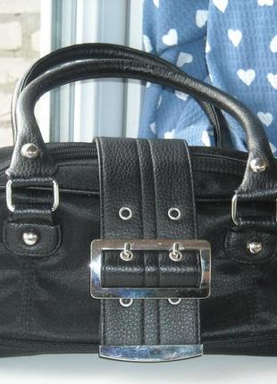 Чёрная брендовая сумка с двумя ручками сумочка клатч багет