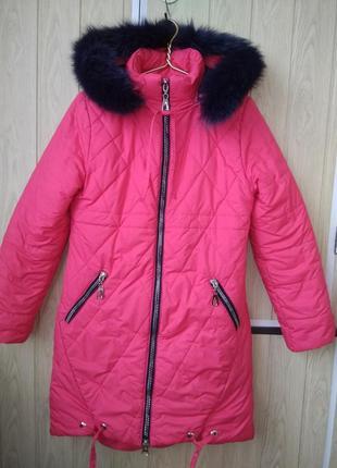 Эффектная тёплая коралловая куртка пальто пуховик с капюшоном