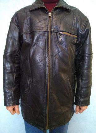 Тёплая кожаная зимняя куртка на высокого солидного мужчину